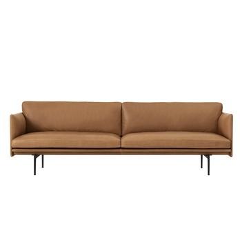 Muuto - Outline Sofa 3 Sitzer - Cognac/Leder Cognac/BxHxT 220x69.5x84cm/Gestell Aluminium schwarz: pulverbeschichtet