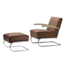 Thonet - S 411 Sessel mit Hocker Leder