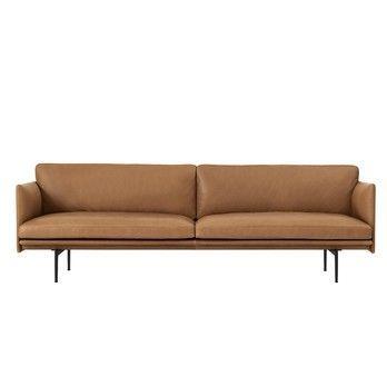 - Outline Sofa 3 Sitzer - Cognac/220 cm x 84 cm/Gestell aluminium