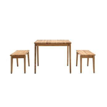 freistil Rolf Benz - freistil 156 Esstisch mit 2 Bänken - natur/geölt/Tisch: BxHxT 160x76x84cm/Bank: BxHxT 160x46x36cm