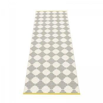 pappelina - Marre Teppich 70x225cm - grau/vanille/mustard stripe/wendbar