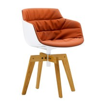 MDF Italia - Flow Slim Armchair With Oak Legs Upholstered