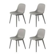 Muuto - Fiber Chair Stuhl mit Holzgestell 4er Set