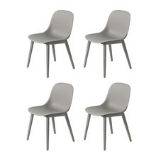 Muuto - Fiber Chair - Set de 4 chaises structure bois