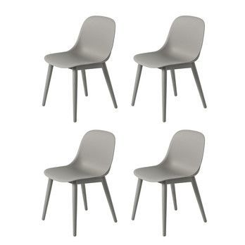 Muuto - Fiber Chair Stuhl mit Holzgestell 4er Set - grau/Sitzfläche Holzfaser/Kunststoff-Ver/BxHxT 49,5x77x53cm/Gestell Eiche grau lackiert