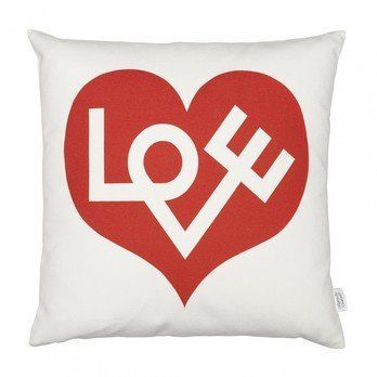 Vitra - Graphic Print Pillow Love Heart Kissen - rot/weiß/LxB 40x40cm