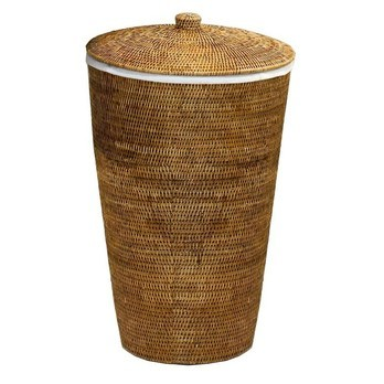Decor Walther - Basket Rattan-Wäschekorb - rattan dunkel