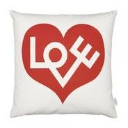- Graphic Print Pillow Love Heart Kissen - rot/weiß/LxB 40x40cm