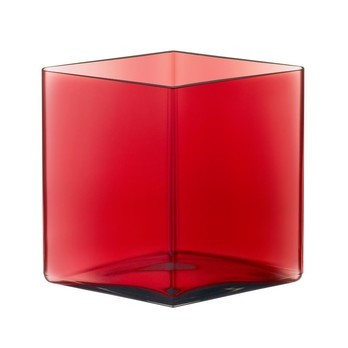 iittala - Ruutu Bouroullec Vase 205x180mm - cranberry rot/rautenform
