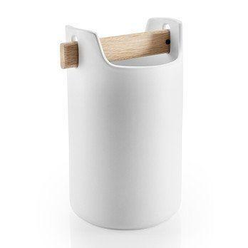 Eva Solo - Eva Solo Toolbox Aufbewahrungsbehälter hoch - weiß/matt/1 Holzgriff/LxBxH 11.8x11.8x20cm