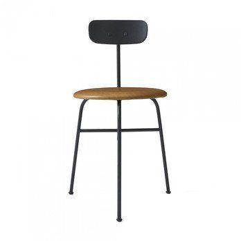 Menu - Afteroom Dining Chair Stuhl 3 gepolstert - schwarz/cognac/pulverbeschichtet/BxHxT 45,5x76,5x51cm/Sitzpolster Sørensen Leder