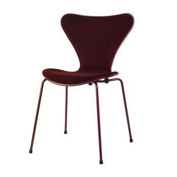Fritz Hansen - Limited Edition Serie 7 Stuhl Samt - rot/Dedar Samt, Barberry/Frontpolsterung/Gestell rot