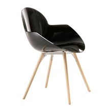 Infiniti - Chaise avec accoudoirs et piètement en bois Cookie
