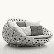 B&B Italia - Canasta Lounge Sessel - weiß/inkl. 1 Auflage/7 Kissen/Geflecht/inkl. Sitzkissen Stoff Elce weiß/inkl. 7 Rückenkissen Stoff Bali grau/weiß