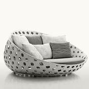 B&B Italia - Canasta Lounge Armchair - white/incl. seat c./7 cushions/meshwork/incl. seat cushion fabrics Elce white/7 diff. cushions fabrics Bali white/grey
