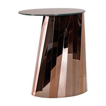 - Pli Beistelltisch hoch - pyrit-bronze/Platte braun satiniert/H 65cm