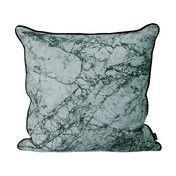 ferm LIVING - Marble Seidenkissen - dusty blau/50x50cm/Kaltwäsche/von Hand gedruckt