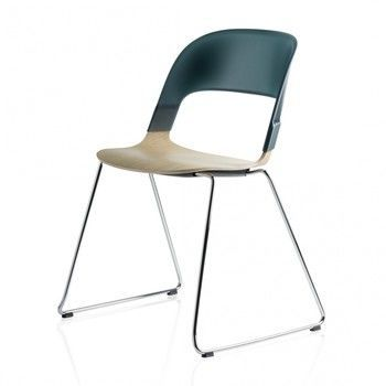 - Pair Chair BH21 Stuhl - petrol/Sitzfläche Eiche/Gestell Chrom/58x69x52cm
