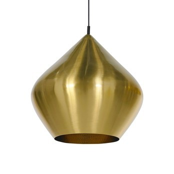 Tom Dixon - Beat Stout Brushed Pendelleuchte - messing/matt/Kabel schwarz/Ø 52cm, H: 50cm