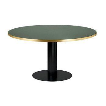 Gubi - 2.0 Dining Table Tisch Gestell Schwarz Ø150cm - Flaschengrün/Tischplatte Glas/H 74,5cm, Ø150cm/Gestell schwarz