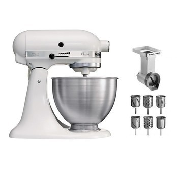 KitchenAid - Classic 5K45SS Küchenmaschinen Set - weiß/Metall/inkl. 1x Gemüseschneider mit 3x Trommeln/inkl. 3x Zusatztrommeln