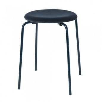 Fritz Hansen - Limited Edition Dot™ Hocker Samt - blau/Samt Adamo & Eva 170 Notte/Ø 34 cm / H 44 cm/Gestell blau