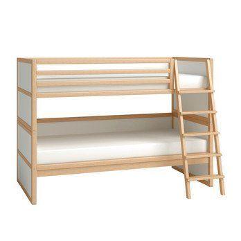 Flötotto - Flötotto Profilsystem Etagenbett - buche/Flächen weiß/melaminharzbeschichtet/mit Lattenrost ohne Matratze/inkl. 2. Bett/Leiter rechts