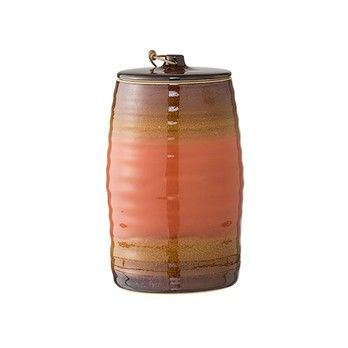 Bloomingville - Tulum Behälter mit Deckel - orange/Ø12xH20 cm