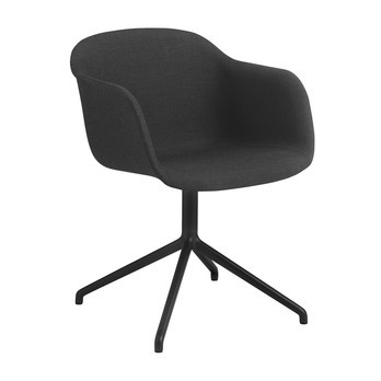Muuto - Fiber Chair Drehstuhl gepolstert - anthrazit/schwarz/Sitz Textil Remix 183 gepolstert/Gestell schwarz/54.5x76.5x55cm