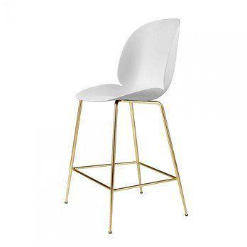 Gubi - Beetle Counter Chair Barhocker Messing 108cm - weiß/Sitz Polypropylen-Kunststoff/BxHxT 53,5x108x58cm/Gestell Messing