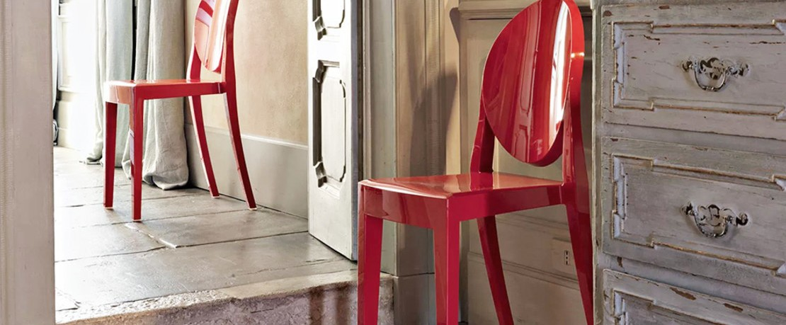 Kartell Ghost Stuhl in Rot