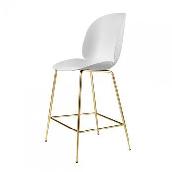 Gubi - Beetle Counter Chair Barhocker Messing 108cm - weiß/BxHxT 53,5x108x58cm/Gestell Messing