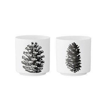 Bloomingville - Votive Porzellan Becher 2er Set - weiß/schwarz/H 7cm/Ø 7cm