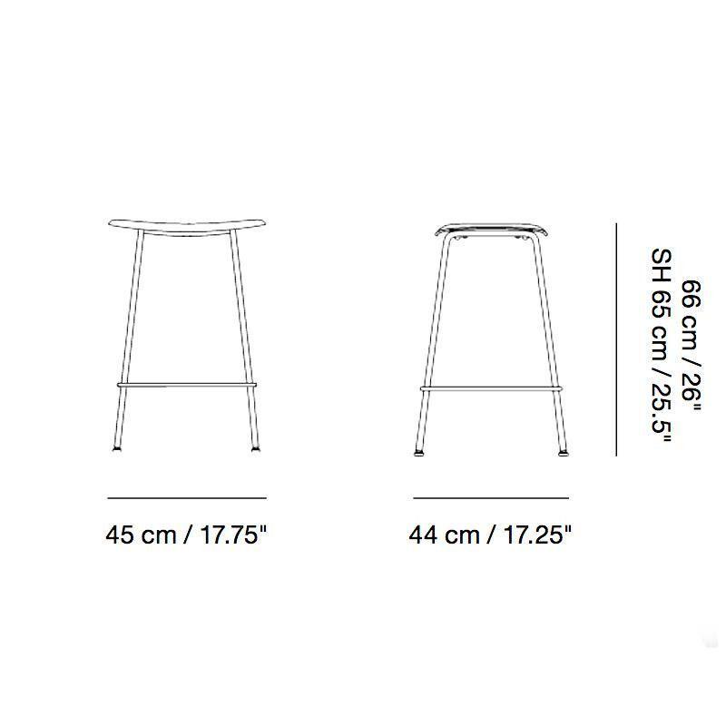 Muuto Fiber Bar Stool 65cm Line Drawing
