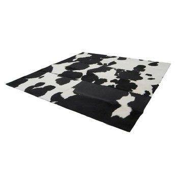 Kurth - Q4 Fellteppich randlos - schwarz-weiß/Fell/200x200cm