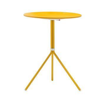 Pedrali - Nolita 5453T Gartentisch rund H 73cm - gelb/Tischplatte lackiert/klappbar