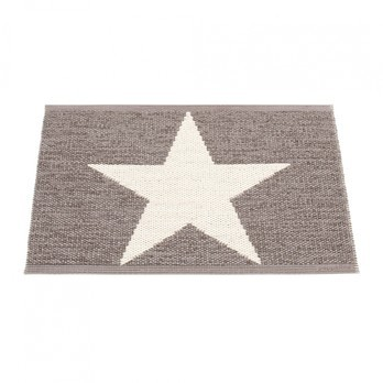 pappelina - Viggo Star Teppich 70x50cm - schlamm metallic/vanille/Metallischer Glanz