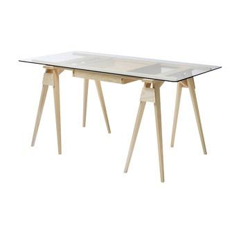 DesignHouseStockholm - Arco Schreibtisch 150x74cm - esche/Tischplatte Glas/Schublade kann beidseitig geöffnet werden