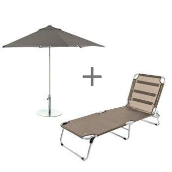 - Jan Kurtz Sonnenliege mit Sonnenschirm  - taupe/Sonnenliege 190x69x29cm/Schirm Ø 250cm