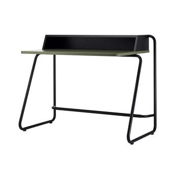 Thonet - S 1200 Classics in Colour Sekretär - schwarz/olivgrün/Esche gebeizt/Esche lackiert/Gestell Stahlrohr schwarz lackiert/110x67cm