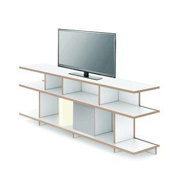 Tojo - Tojo Stell TV-Lowboard 198x68x37.5cm - weiß/mit stell LED-Leuchte 31x33cm