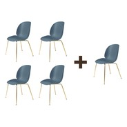Gubi - Aktionsset 4+1 Beetle Dining Chair Messing