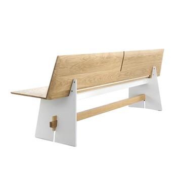 Conmoto - Tension Wood Bank mit Rückenlehne - weiß/weiße Kante/eiche/H 42/76 x B220 x T57cm
