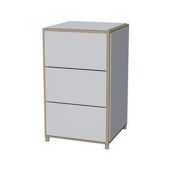 Flötotto - ADD H3 kleine Kommode 3 Schubladen - weiß/Melamin/ Eiche gekalkt/43,7x43,7x72,8cm/3 Schubladen