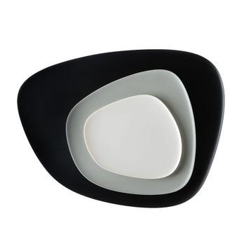 Kartell - Namasté Teller-Set 3tlg. - schwarz/grau/taubengrau/Teller 1: 20x1x19cm/Teller 2: 27x1,4x26cm/Teller 3: 45x2x36cm