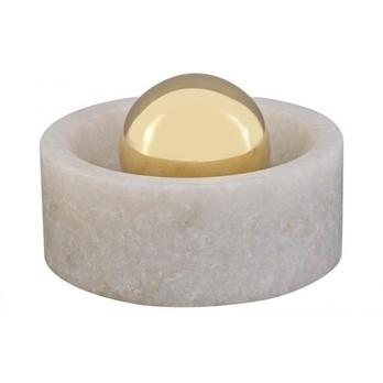 Tom Dixon - Stone Kugelmörser für Gewürze - messing, weiß/Morwad Marmor weiß/Messing verkleidete Gusseisenkugel