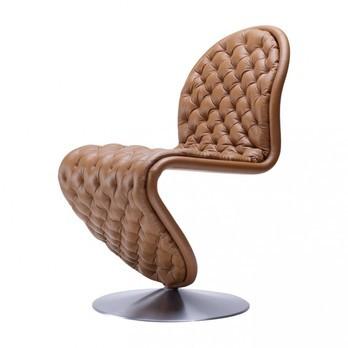 VerPan - System 1-2-3 Dining Chair Deluxe Stuhl - walnuss 322/Leder Savanne