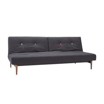 Innovation - Fiftynine Klappsofa - schwarz/Stoff Black Nist 514/Gestell dunkles Holz/Liegefläche 115x210cm