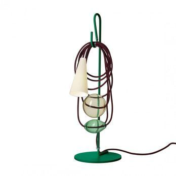 Foscarini - Filo Souther Talisman Tischleuchte - grün/transparent/mundgeblasenes Glas/Gestell lackiertes Metall grün/Textilkabel rotbraun/H 58cm/Ø 20cm