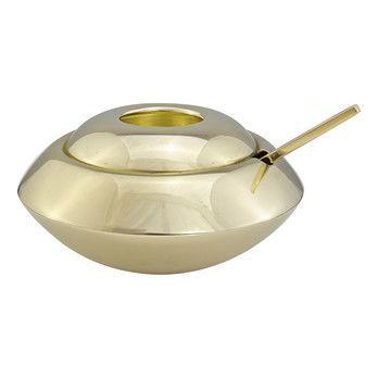 Tom Dixon - Form Zuckerdose mit Löffel - gold/H 7cm, Ø 10cm